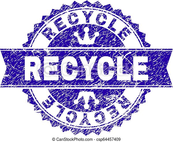 Scratched Textured RECYCLE Stamp Seal with Ribbon - csp64457409