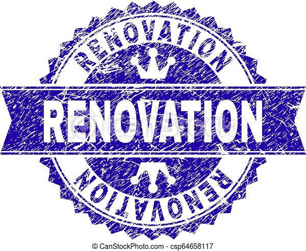 Scratched Textured RENOVATION Stamp Seal with Ribbon - csp64658117