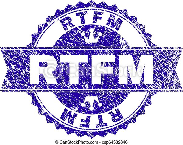 Scratched Textured RTFM Stamp Seal with Ribbon - csp64532846