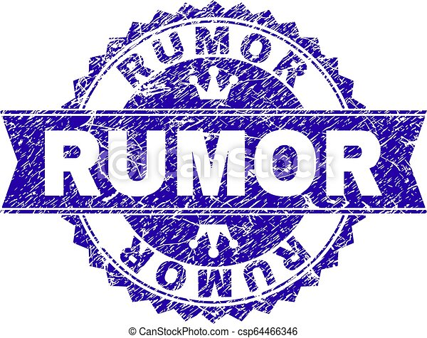 Scratched Textured RUMOR Stamp Seal with Ribbon - csp64466346