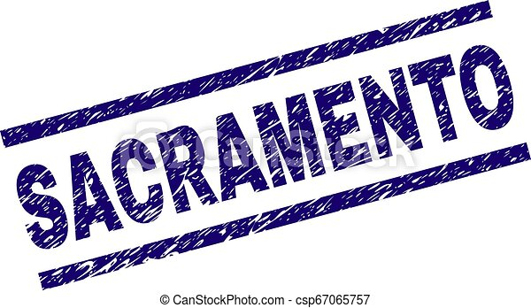 Scratched Textured SACRAMENTO Stamp Seal - csp67065757