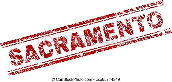 Scratched Textured SACRAMENTO Stamp Seal - csp65744349