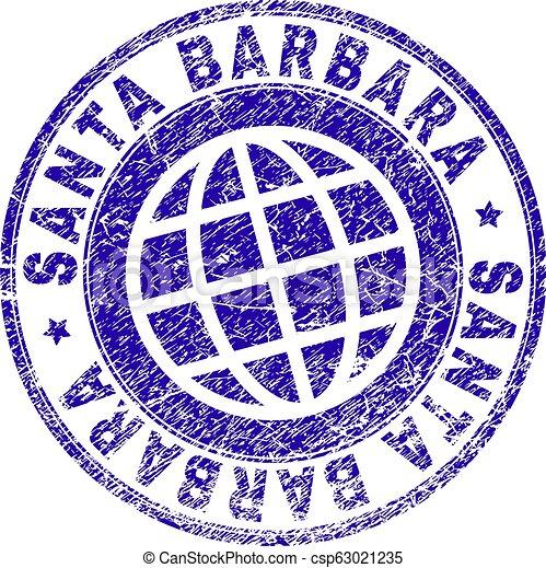 Scratched Textured SANTA BARBARA Stamp Seal - csp63021235