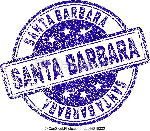 Scratched Textured SANTA BARBARA Stamp Seal - csp65218332