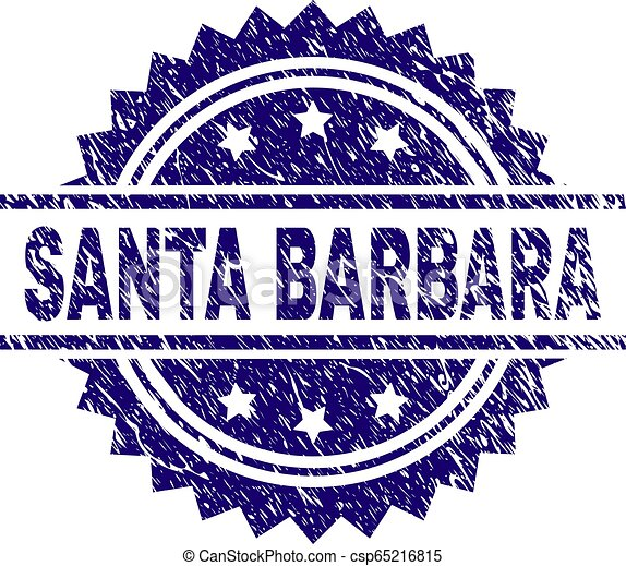 Scratched Textured SANTA BARBARA Stamp Seal - csp65216815
