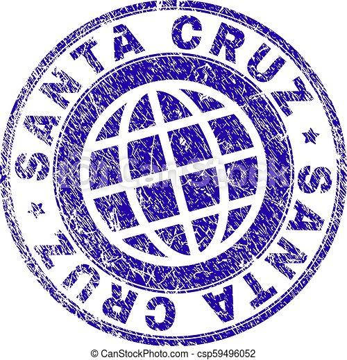 Scratched Textured SANTA CRUZ Stamp Seal - csp59496052