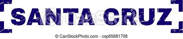 Scratched Textured SANTA CRUZ Stamp Seal Between Corners - csp65681708