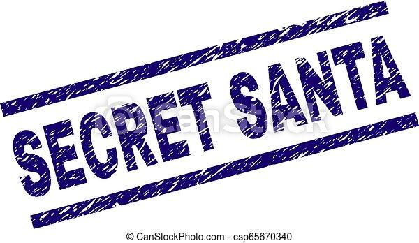 Scratched Textured SECRET SANTA Stamp Seal - csp65670340
