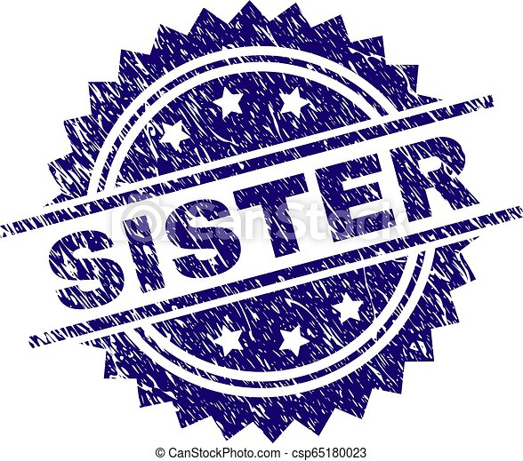 Scratched Textured SISTER Stamp Seal - csp65180023