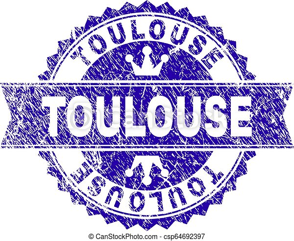 Scratched Textured TOULOUSE Stamp Seal with Ribbon - csp64692397