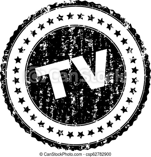 Scratched Textured TV Stamp Seal - csp62782900