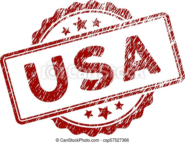 Scratched Textured USA Text Stamp Seal - csp57527366