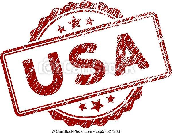 Scratched Textured USA Text Stamp Seal - csp57527366