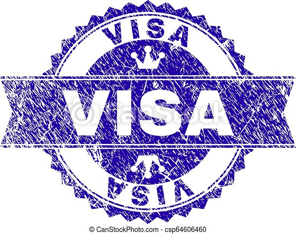 Scratched Textured VISA Stamp Seal with Ribbon - csp64606460