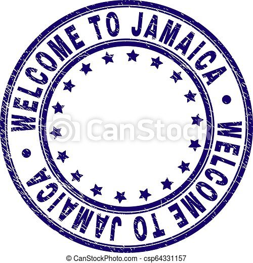 Scratched Textured WELCOME TO JAMAICA Round Stamp Seal - csp64331157