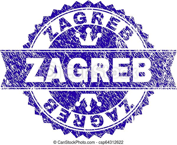Scratched Textured ZAGREB Stamp Seal with Ribbon - csp64312622