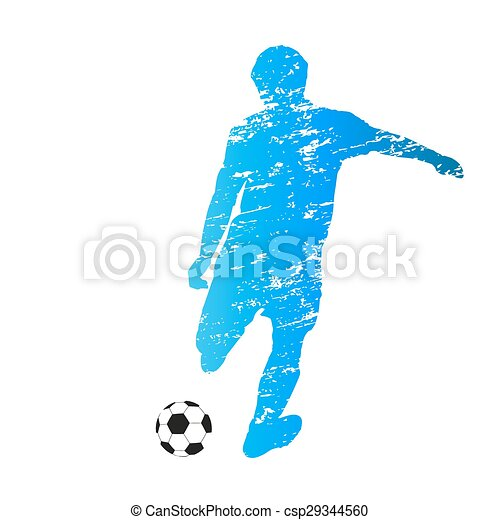 Scratched vector silhouette of kicking soccer player - csp29344560