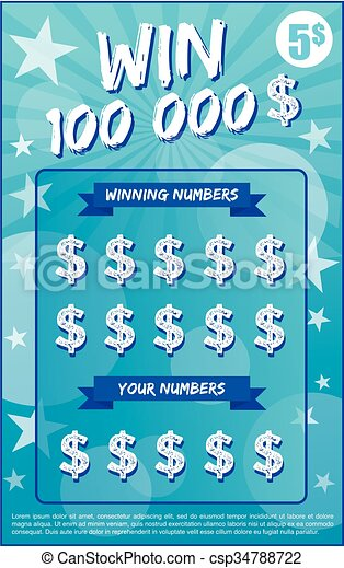 Vector illustration of scratchoff ticket lottery instant lottery instant lottery ticket scratch off vector illustration no shadow on the vector and lorem ipsum is use as tempory text sciox Images
