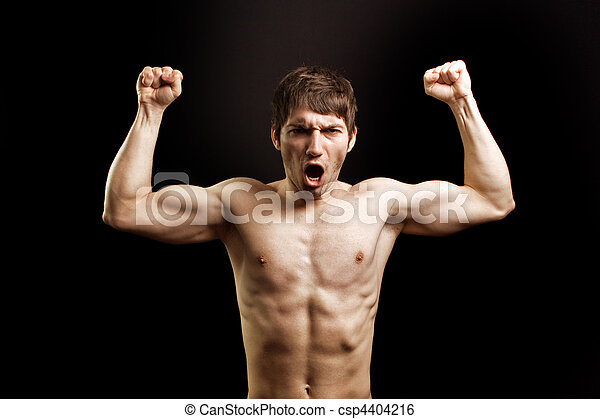 Scream of angry muscular brave strong man - csp4404216
