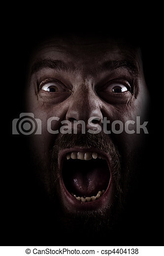 Scream of scared spooky man in dark - csp4404138