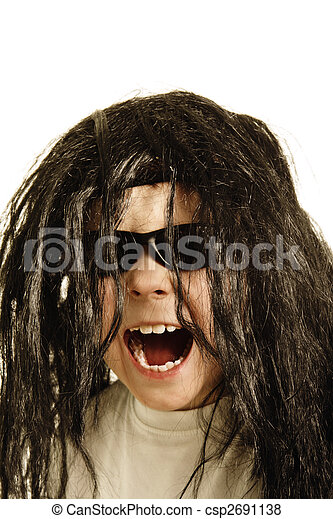 Screaming boy in wig - csp2691138