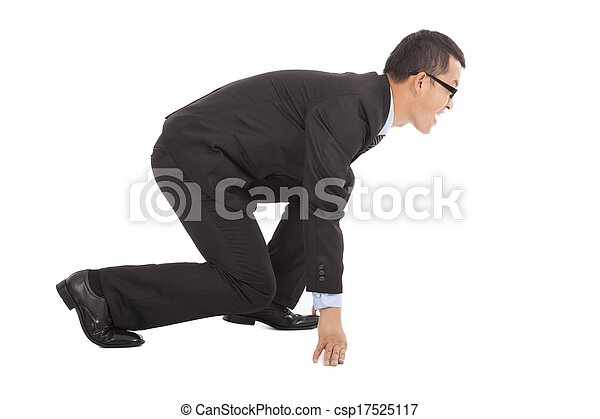 screaming businessman ready to run .isolated on white - csp17525117