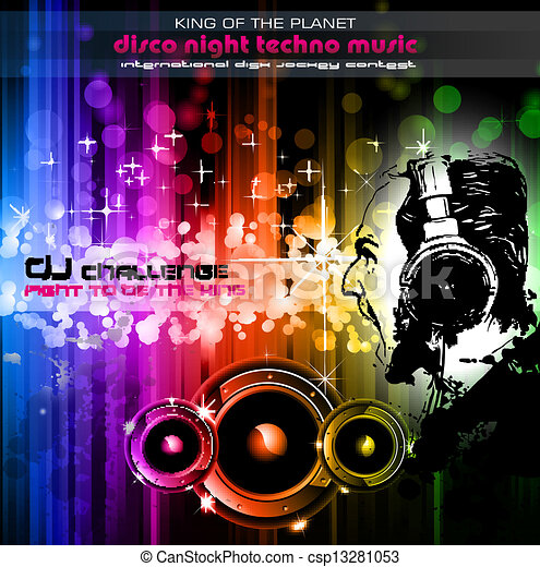 Screaming DJ Background for alternative disco flyers - csp13281053