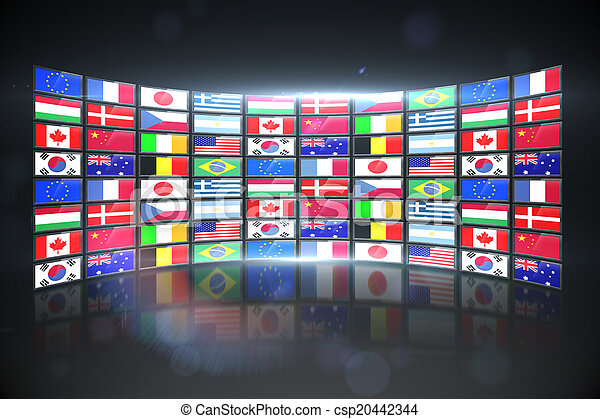 Screen collage showing international flags - csp20442344
