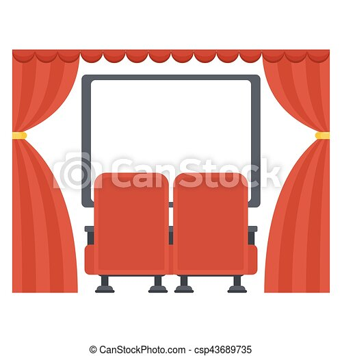 screen in movie theater row of comfortable red sits in vectors rh canstockphoto com