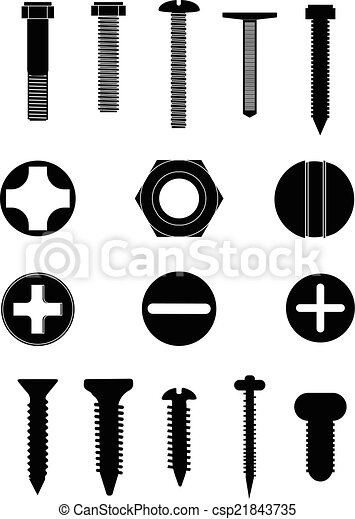Screw nuts and bolts icons set - csp21843735