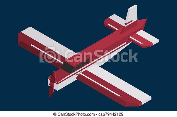 screw single-engine burgundy color plane isometric - csp79442129