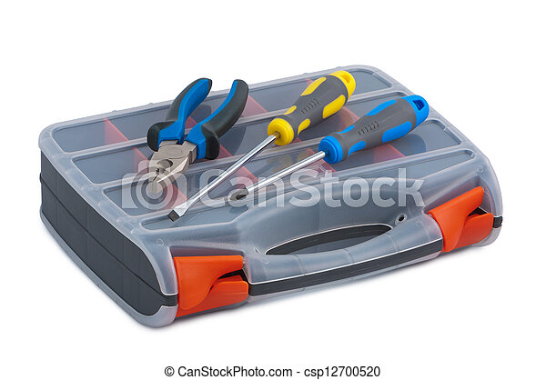 Screwdriver and pliers in a plastic tool box on white background - csp12700520