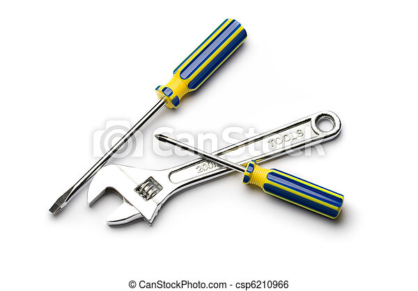Screwdrivers and wrench isolated on white - csp6210966