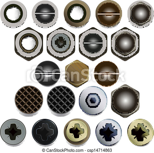 Screws, bolts and nuts heads - csp14714863