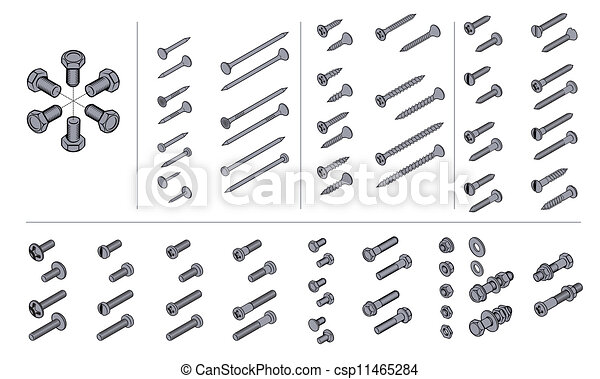 screws, nuts and nails in isometric view - csp11465284