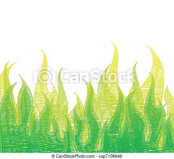 Scribble Fire In Green Grass. Vector - csp7106646