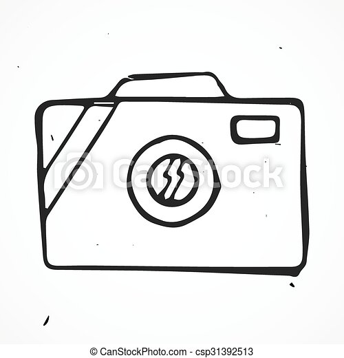 Scribble Hand Drawn Camera Icon Vector Scribble Hand Drawn Camera