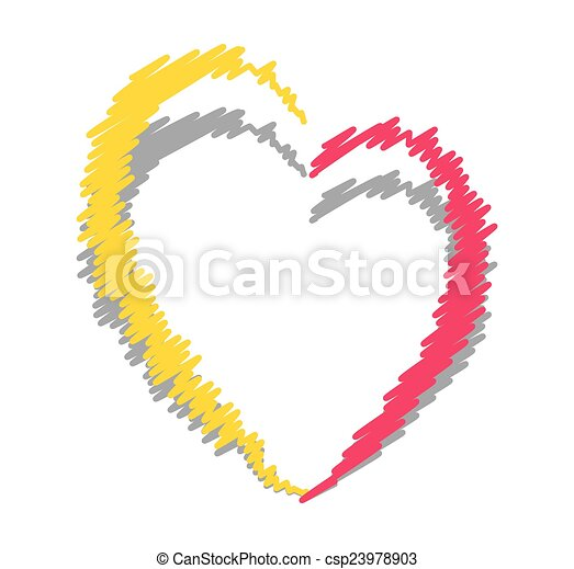 Scribble heart frame. Abstract colored rough love heart vector shape ...