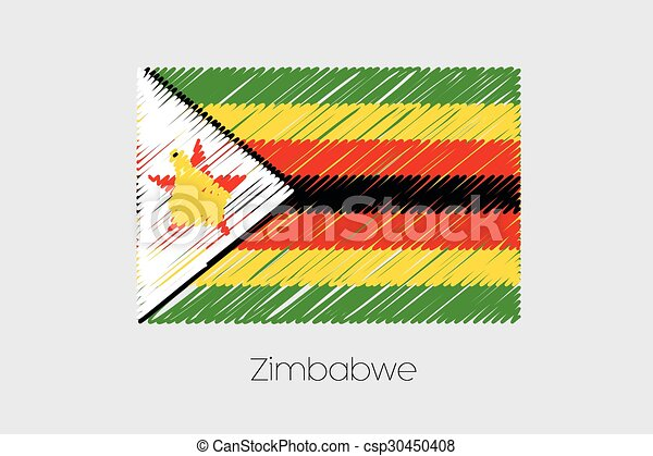 Scribbled Flag Illustration of the country of Zimbabwe - csp30450408