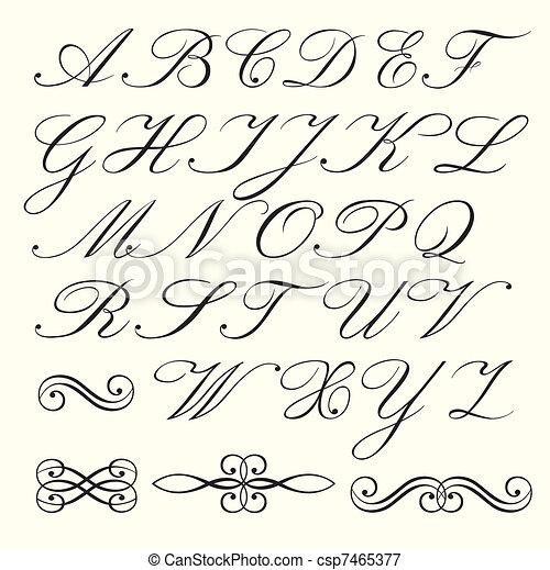 Script Alphabet Hand Drawn And Calligraphic Emblems