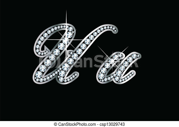 Script Diamond Bling Uu Letters - csp13029743