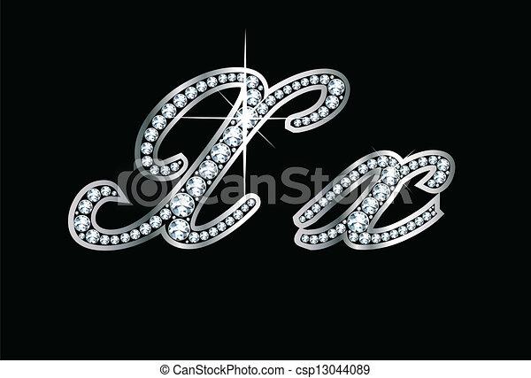 Script Diamond Bling Xx Letters - csp13044089