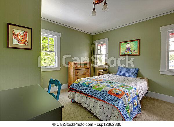 scrivania, bambini, verde, walls., camera letto