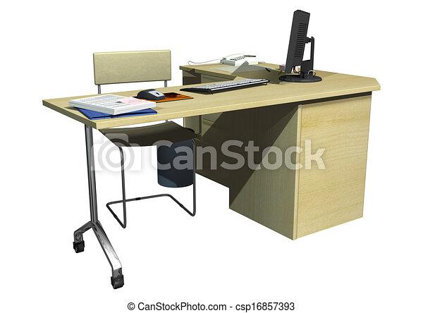 Scrivania Ufficio Immagini : Render scrivania ufficio isolato fondo digitale bianco