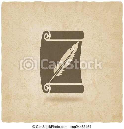 scroll and feather writing symbol old background - csp24483464