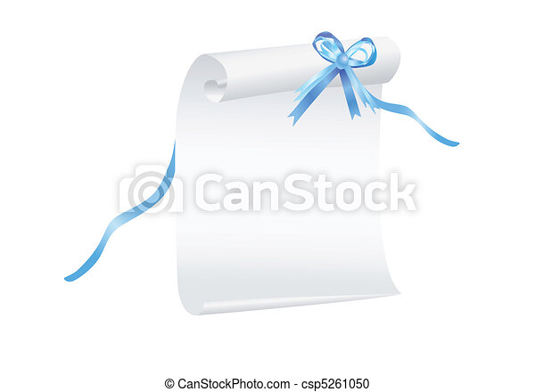Scroll of paper with a blue ribbon - csp5261050