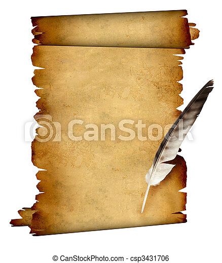 Scroll of parchment and feather - csp3431706