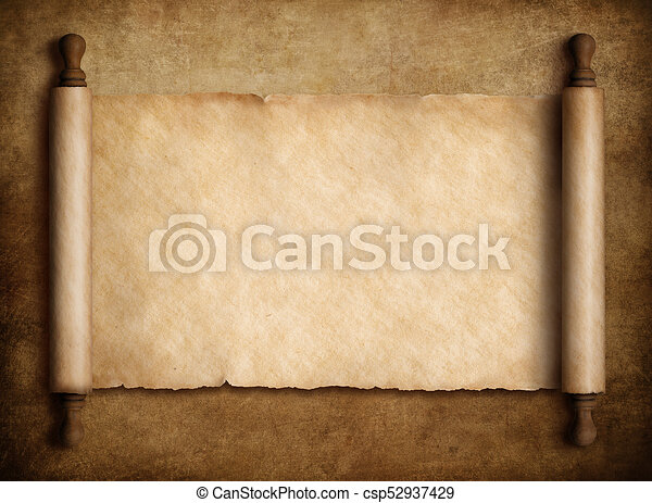 scroll parchment over old paper background 3d illustration ancient