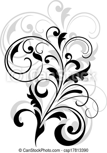 scrolling calligraphic floral design in black and white eps rh canstockphoto com