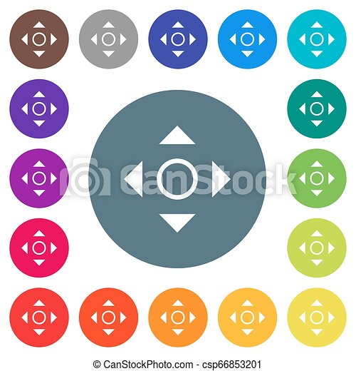 Scrolling tool flat white icons on round color backgrounds - csp66853201